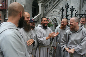 Franciscans laughing